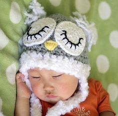 Newborn to 6 months Owl hat, baby sleeping owl hat, child crochet hat, Gray, white, Photography Prop-Made to Order. $24.00, via Etsy.
