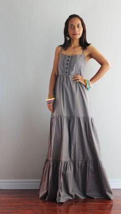 Long Maxi Dress  Bridesmaid Halter Grey Dress   Summer by Nuichan, $59.00