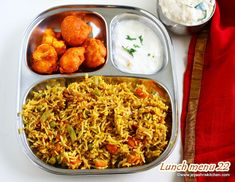 Most of the houses will cook Biryani for a Sundal lunch. I have already posted Paneer biyani meal. This week's menu comes with a family's favorite Hyderabadi style Veg Dum… Indian Food Recipes, Vegetarian Recipes, Ethnic Recipes, Veg Biryani, Lunch Menu, Fried Rice, Good Food, Snacks, Nasi Goreng