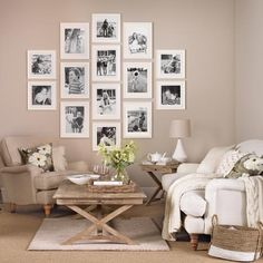 Neutral living room with family picture gallery