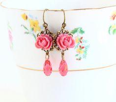 Coral Pink Earrings - Flower Dangle Earrings - Wedding Earrings - Bridal Earrings - Vintage Style - Bridesmaid Gifts - Bridal Party
