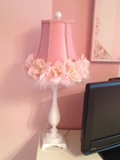 Remove fabric from salvaged lamp shade paint the wire form and matching pink lamp shade to diy chandelier greentooth Choice Image