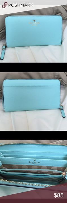 Kate Spade Wallet Robins Egg Blue Perfect size wallet ! Gorgeous color! NEVER USED kate spade Bags Wallets