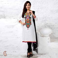 Aapno Rajasthan Kashmiri Embroidery Straight Fit Suit In Black And White Classic glamour is what you'll exude in this timeless Cotton suit with elaborate multicolour yoke. The V neckline features beaded and Kashmiri embroidery. The suit comes with a contrast Churidar and chiffon dupatta.Suit comes in unstiched form which can be tailored to size and design.