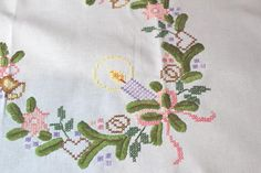 CHRISTMAS IN PINK & PURPLE WITH HEARTS! VTG GERMAN HAND EMBROIDERED TABLECLOTH