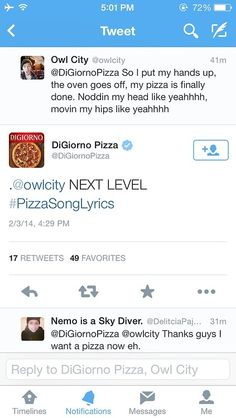 things are getting intense in the owl city and digiorno friendship #owlcity #adamyoung #pizza