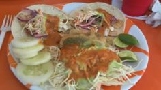 Turn a couple of fish or shrimp tacos into a plate full of yummy at Los Claros! The best seafood tacos in all of Cabo. Beware of imitators, you must go to the location on Zaragoza Street.