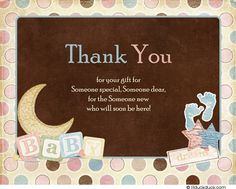 Cute Baby Shower Things Surround Your Wording On This Special Baby Thank  You Card. The