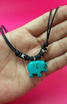 Necklace Choker Lather Jewelry Adjustable Rope Necklace Pendant Jewelry Gifts Elephant Natural Stone Handmade by LuxuryFay on Etsy