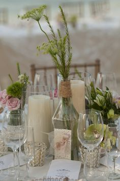 rustic/vintage table centrepiece - lovely neutrals, fresh green and a touch of pink #colour #inspiration