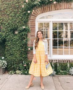 Outfit Details: MDS Stripes Dress c/o (similar here), Carven Sweater (old, similar here), Manolo Blahnik Pumps, Edie Parker Bag (last seen… Adrette Outfits, Church Outfits, Preppy Outfits, Spring Outfits, Themed Outfits, Skirt Outfits, Fashion Outfits, Preppy Mode, Preppy Style