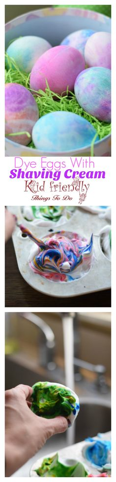 How To Dye Easter Eggs With Shaving Cream (or Whipped Cream) Shaving Cream Easter Eggs, Easter Egg Dye, Coloring Easter Eggs, Hoppy Easter, Egg Coloring, Easter Crafts For Toddlers, Easter Activities, Easy Crafts For Kids, Toddler Crafts