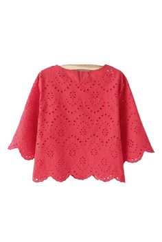 Get our new 'Hudson' Eyelet Embroidered Scalloped Hem Crop Top ! Intricately embroidered eyelets trace a pretty pattern over an airy cotton short sleeved crop Red Going Out Tops, Red Crop Top, Crop Tops, Cropped Top, Pretty Outfits, Cute Outfits, Pretty Clothes, Summer Outfits, Red Short Sleeve Tops