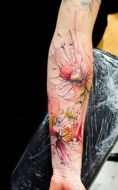 "Unique ""watercolor"" tattoos by Niko Inko and Klaim, tattoo artists from France. 1000 Tattoos, Body Art Tattoos, Sleeve Tattoos, Tatoos, Key Tattoos, Tattoo Skin, Skull Tattoos, Pretty Tattoos, Beautiful Tattoos"
