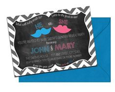 Chalkboard & Chevron Gender Reveal Invitation with Envelopes | Printed Invites and Color Envelopes | Custom Colors Available