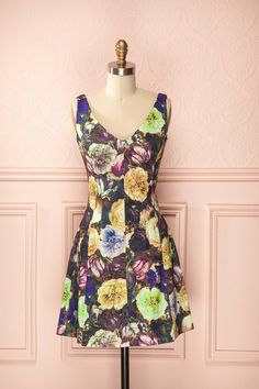 Dina - Purple, mauve, yellow and green flower print classic dress