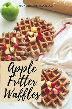 Apple Fritter Waffles bring the taste of fall to your table with fresh apple bits in every bite and topped with a dreamy glaze. Delicious Breakfast Recipes, Brunch Recipes, Egg Recipes, Muffin Recipes, Baking Recipes, Yummy Food, Yummy Recipes, Pancakes From Scratch, Apple Fritters
