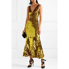 Oscar de la RentaSequined Silk-blend Gown (154,095 MXN) ❤ liked on Polyvore featuring dresses, gowns, white evening gowns, sequin evening gowns, sequin evening dresses, white color dress and sequin gown