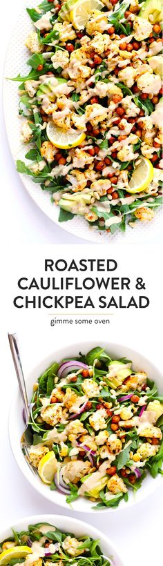 This Roasted Cauliflower, Chickpea and Arugula salad is tossed with a dreamy tahini dressing, lots of avocado, red onion, toasted pine nuts, and fresh lemon wedges. So delicious and easy to make! | gimmesomeoven.com (Vegetarian / Vegan / Gluten-Free)