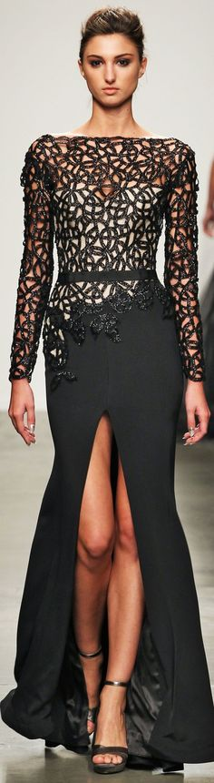 Fashion Palette at NYFW Spring 2014 nude thigh high split front embellished cage long sleeve gown dress black see through fitted long