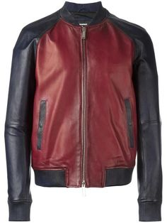 DSQUARED2 contrasted leather bomber jacket. #dsquared2 #cloth #jacket