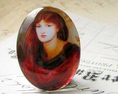 Glass oval cab Scarlet Woman handmade cabochon by FallenAngelBrass