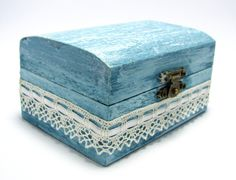 Shabby Chic Blue Jewelry Keepsake Box, Distressed Trinket Box, Jewelry…