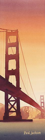 """""Golden Gate"" Watercolor"" by Paul Jackson   Redbubble"