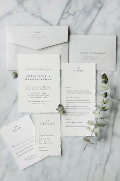 Letterpress ivory and grey classic wedding invitation suite | traditional, simple, modern, elegant, romantic, vintage, succulent, minimalist, design, unique, creative, typography, type, suite, stationery, menu, rsvp, detail card | Gatherie Creative