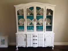 Need to find a china cabinet like this to refinish like this for the kids' room!