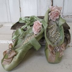 Shabby cottage chic ballet pointe shoes lime green dyed dance slippers embellished roses and pearls home decor anita spero design
