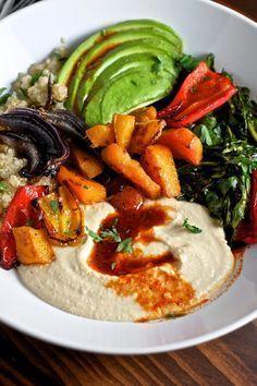 Quinoa Power Bowls with Avocado, Hummus and Smoked Paprika Vinaigrette | Sweet Salty Tart** sub celeriac for squash**