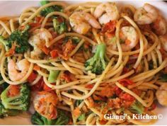 Shrimps and Pasta Surprise | Often I wait until there is nothing left in the refrigerator to go grocery shopping. With that said, I am also faced with the dilemma of using what is left to create a meal with it. Tonight I had some help from my son and this is all it came down to it. #shrimp #[pasta #vegetables
