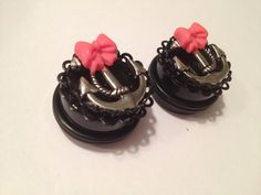 Pick Size Anchor  With Pink  bow Custom Plug earrings Rockabilly psychobilly jewelry plugs on Etsy, Sold