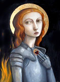 Joan of Arc by Felicia Olin Joan D Arc, Saint Joan Of Arc, St Joan, Divine Mother, Mother Mary, Catholic Saints, Catholic Art, Creepy Cute, Warrior Princess