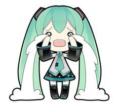 "Virtual idol ""Hatsune Miku"" debuts on LINE! Hip & cute Hatsune Miku stickers illustrated by ""putidevil"" are now available! Vocaloid, Anime Chibi, Kawaii Anime, Anime Girl Crying, Miku Chan, Mikuo, Dibujos Cute, Cute Chibi, Line Sticker"