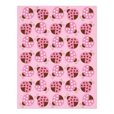 Mod Pink Ladybug Baby Scrapbook Paper Customized Letterhead