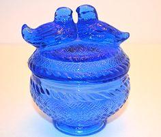 Cobalt Blue Lovebirds Glass Candy Dish