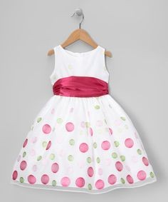 Take a look at this White & Pink Polka Dot Organza Dress - Toddler & Girls by Sweet Kids on #zulily today!