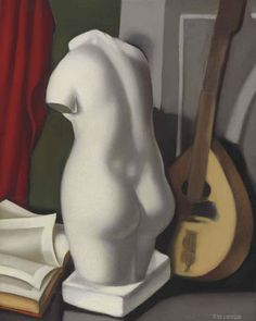 "Tamara de Lempicka (Polish, 1898-1980) - Nature morte (Oil on canvas) - Lempicka's distinctive and bold artistic style developed at the Académie de la Grand Chaumière under the instruction of Nabi painter, Maurice Denis, as well as the Cubist André Lhote. The young painter was particularly influenced by what Lhote sometimes referred to as ""soft cubism"" and by the ""synthetic cubism"" of Denis, epitomizing the cool yet sensual side of the Art Deco movement... (Németh György)"