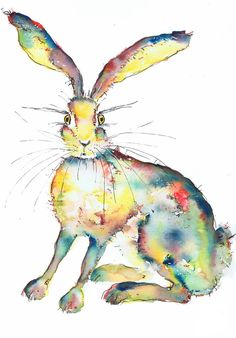 Bright Vibrant Colourful Hare Giclee Print from an by Colourama Watercolor Animals, Watercolor Paintings, Art Paintings, Watercolour, Hare Animal, Pastel, Bunny Art, Moose Art, Wildlife