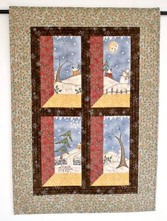Christmas Wall Hanging,  Quilted Snowman Wall Hanging, Winter Wall Quilt, Whimsical Country Home Decor, Quiltsy Handmade by RedNeedleQuilts on Etsy