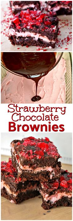 Strawberry Chocolate Brownies | Valentines Day | Sweet Treats | Dessert Recipes | Layers of Brownies, Frosting and Chocolate | Crushed Candy Topping