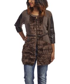 This Brown Belted Faux Fur Duster by Nicole Sabbattini is perfect! #zulilyfinds