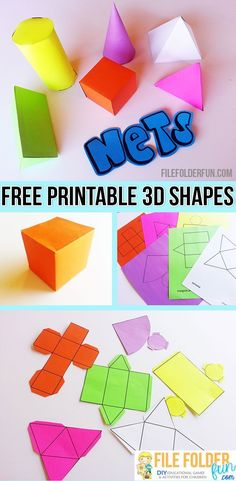 Geometry Nets Free Printable Nets to make shapes. Perfect hands on tool for geometry.Free Printable Nets to make shapes. Perfect hands on tool for geometry. 3d Shapes Activities, Geometry Activities, Math Activities, Math Worksheets, 3d Shapes Worksheets, Teaching Geometry, Teaching Math, Preschool Learning, Teaching Shapes