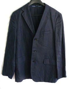 J Crew Irish Linen Blazer Blue Sport Jacket Mens Coat Size 42R  #JCREW #ThreeButton