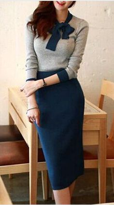 bow neck knit ensemble