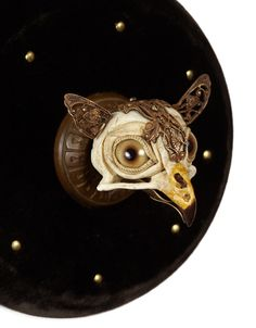 """Orlando5""""x5""""x4""""Antique brass findings and hardware, leather, velvet, wood, tacks, cast/painted plastic, glass eyes"""