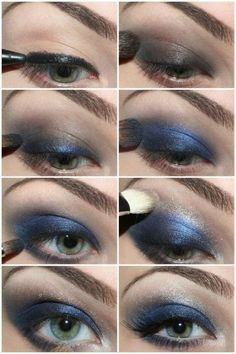 How to Apply Blue Eyeshadow...  It's best to use 2 shadows, a light and a dark. Pick a soft color for the entire eye area up to the browbone and then use the darker.