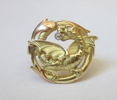 Antique Art Nouveau DRAGON Ring with by magwildwoodscloset